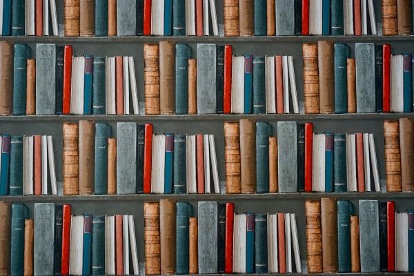 Muur met boekenplanken