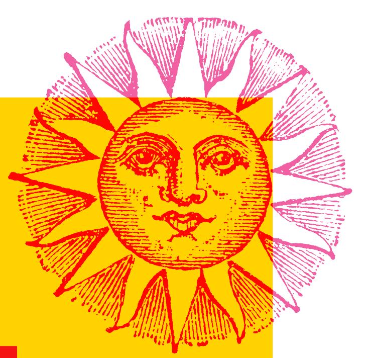 Grafische illustratie van houtsnede met een zon