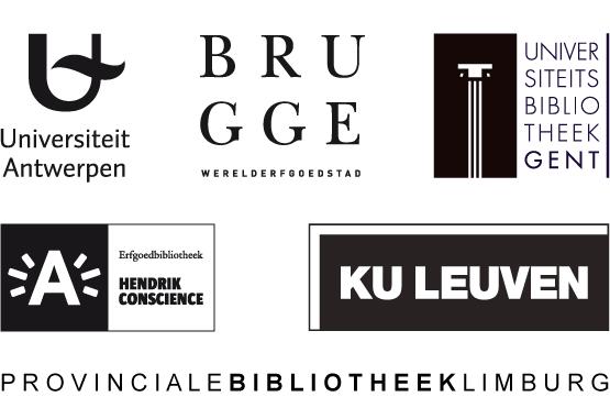 De logo's van de zes partners van de Vlaamse Erfgoedbibliotheek