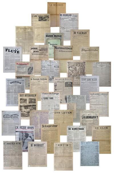 Voorpagina's van uiteenlopende types Belgische kranten