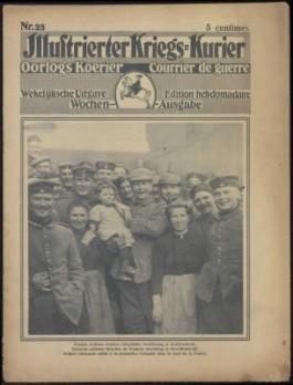Duitse soldaten tenmidden van de lokale bevolking in Noord-Frankrijk