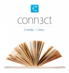 Conn3ct-logo en beeld met tablet waaruit boekpagina's waaieren