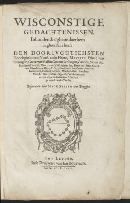Voorpagina van Wisconstige Gedachtenissen van Simon Stevin uit 1608