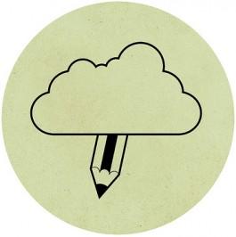 Potlood komt uit wolk tevoorschijn