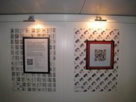 Posters met QR codes in de Nationale bibliotheek van Nederland