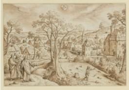 embleem van een middeleeuws dorp getekend door Hans Bol