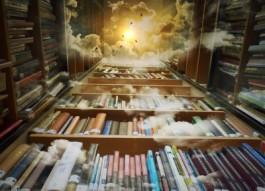 Foto van bibliotheek in de wolken