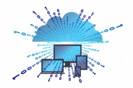 Een afbeelding met een wolk erop, waaruit binaire code schiet