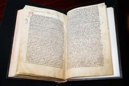 Foto van handschrift van Hildegard van Bingen