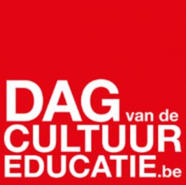 Rode achtergrond met de tekst: 'dag van de cultuureducatie .be'