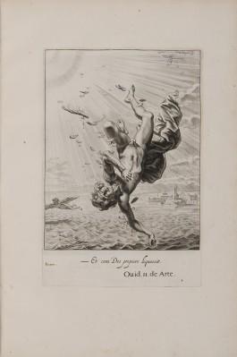 Gravure van Icarus die zijn vleugels verliest en in de zee valt