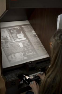 Microfilmlezer leeszaal Consciencebibliotheek