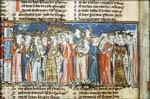 Afbeelding van het hof van koning Arthur uit een Spiegel Historiael