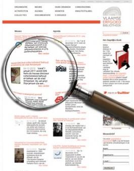 Website Vlaamse Erfgoedbibliotheek met vergrootglas