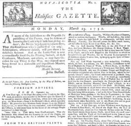 De editie van 23 maart 1752 van de Canadese krant Halifax Gazette