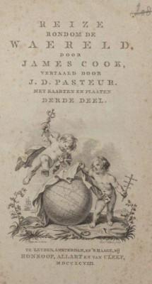 Titelpagina van James Cook's Reize rondom de waereld (1798)