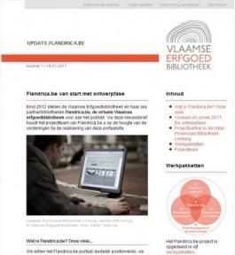 Schermafdruk van de Flandrica.be-nieuwsbrief