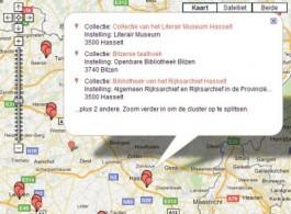 Schermafbeelding kaartweergave Collectiewijzer Erfgoedbibliotheken
