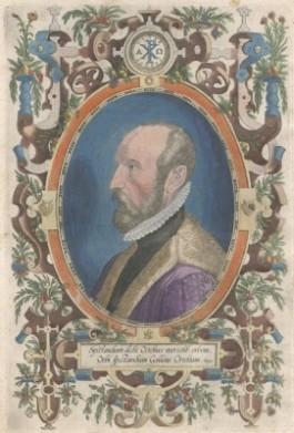 Auteursportret uit 'Theatre de l'univers' van Abraham Ortelius