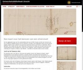 Pagina van de collectiewebsite van de UB Utrecht