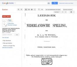 L.A. te Winkel, 'Leerboek der Nederlandsche spelling' uit de KB in Google Books