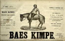 Voorpagina van krant 'Baes Kimpe' uit 1857, digitale versie van Liberaal Archief