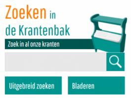 Zoekbalk op kempensekranten.be: 'zoeken in de krantenbak'