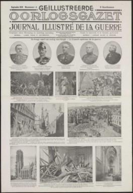 Krantenpagina met foto's van o.a. de verwoestingen in Leuven en Mechelen