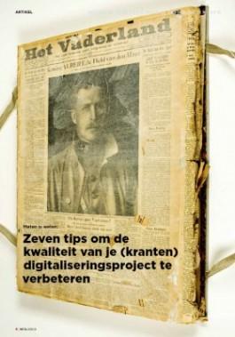 Eerste pagina van het artikel, met oorlogskrant met foto van koning Albert I