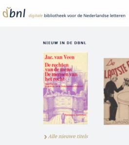 Startpagina website DBNL