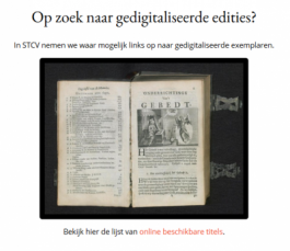 Onderdeel STCV homepage over digitale edities