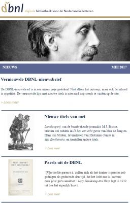 Schermafbeelding van de nieuwe DBNL-nieuwsbrief