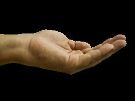 Opgehouden hand vraagt om geld