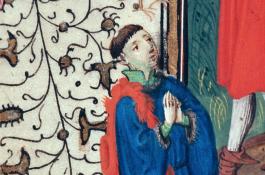 afbeelding van een middeleeuwse man met gevouwde handen