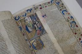 Middeleeuws handschrift met miniatuur in de Openbare Bibliotheek Brugge