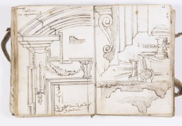 Twee bladzijden het uit het schetsboek van Pieter II Verbruggen