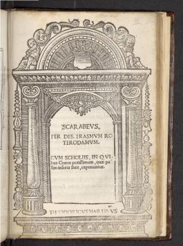 Scarabeus van Erasmus, gedrukt in 1517 bij Dirk Martens in Leuven