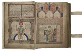 Manuscript met een scribent in actie