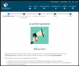 Pagina archiefbank.be: Je archief signaleren