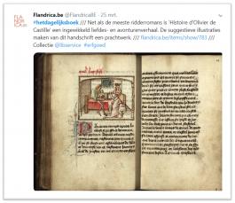Tweet over ridderroman met afbeelding manuscript