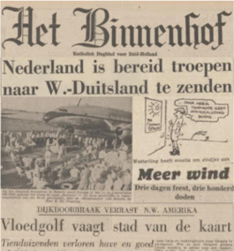 Voorpagina van de Nederlandse krant Het Binnenhof