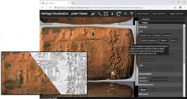 De online pixel+ viewer met voorbeeld van een spijkerschrifttablet
