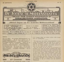 Voorpagina van de Joodsche Middenstander