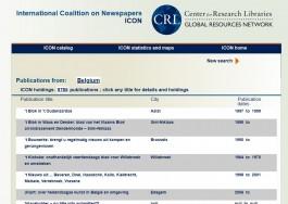 Screenshot van de Belgische titels in de ICON-database