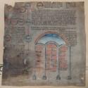 fragment van een perkament verluchte 15de-eeuwse rolkroniek
