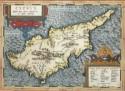 Fragment uit de oudste historische kaart van Cyprus, Abraham Ortelius (1584)