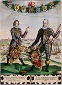 Prins Maurits (1585-1625) en Frederik Hendrik (1625-1647) onder de wapenschilden