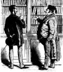 Boekverkoper en klant bij een boekenkast