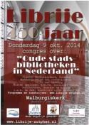 Flyer van congres 'Oude stadsbibliotheken in Nederland'