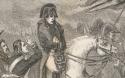 Gravure van Napoleon te paard op het slagveld van Waterloo.
